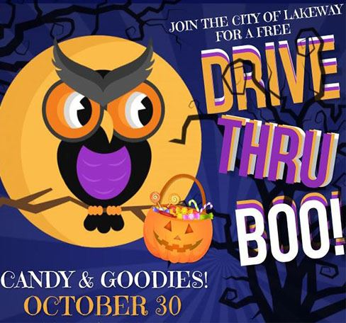 "Image of owl and ""Drive Thru Boo!"" message for upcoming city event"